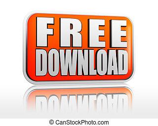 Free download white text in 3d orange banner
