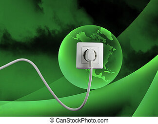 free energy - white socket on a bautiful green world free...