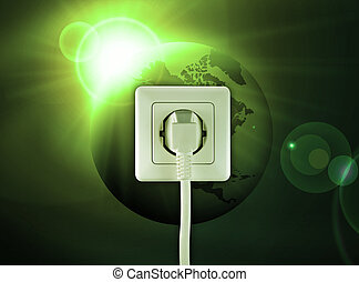 free energy - white socket on a bautiful green world free...