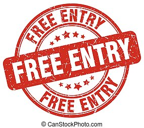 free entry red grunge round vintage rubber stamp