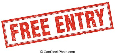 free entry red grunge square stamp on white