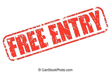 Free entry red stamp text