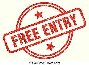 free entry round grunge isolated stamp