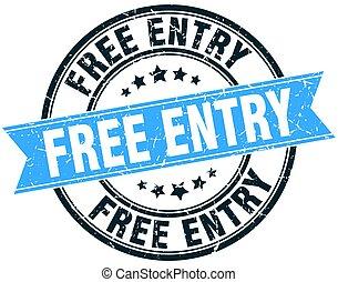 free entry round grunge ribbon stamp