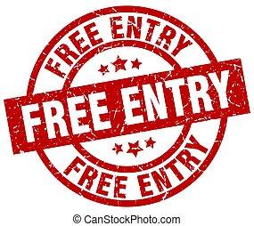 free entry round red grunge stamp