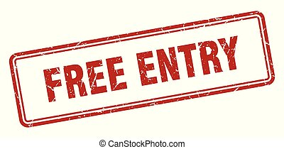 free entry stamp. free entry square grunge sign. free entry