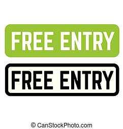 free entry stamp on white