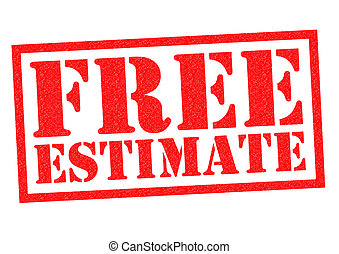 FREE ESTIMATE red Rubber Stamp over a white background.