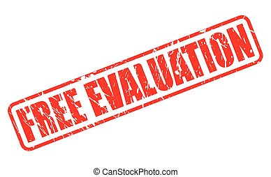 FREE EVALUATION red stamp text on white