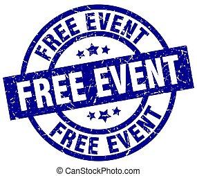 free event blue round grunge stamp