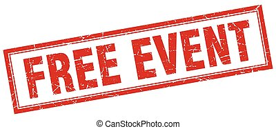 free event red grunge square stamp on white