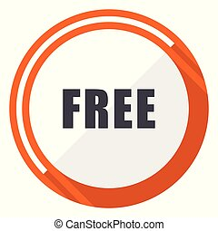 Free flat design vector web icon. Round orange internet button isolated on white background.