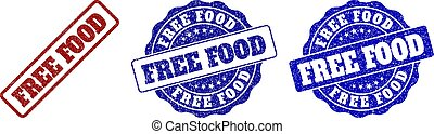 FREE FOOD Scratched Stamp Seals