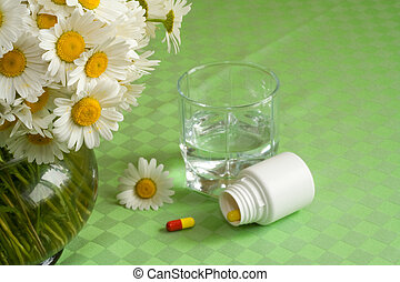 Free from allergy - Anti allergy pills with a glass of water...