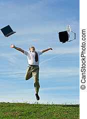 Free from work - Businessman or office worker throwing away ...