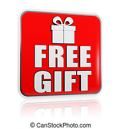 free gift banner with present box symbol - 3d red banner ...