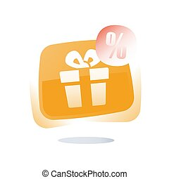 Free gift box button, delight present, special offer, give away package, loyalty program reward, discount coupon
