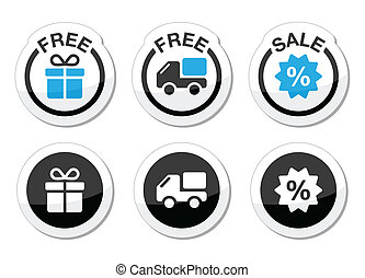 Free gift, free delivery, sale icon - Shopping labels set -...