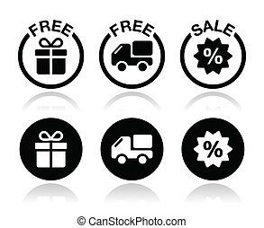Free gift, free delivery, sale icon - Shopping icons set -...