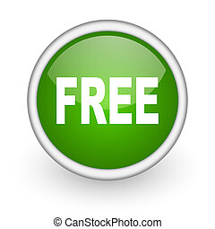 free green circle glossy web icon on white background