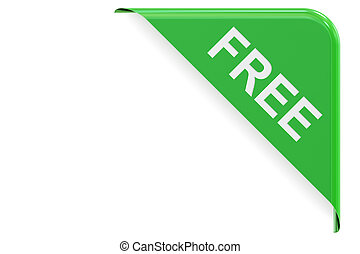 Free green corner. Sale and discount concept 3D rendering