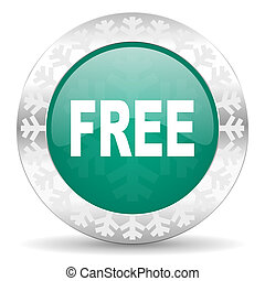 free green icon, christmas button