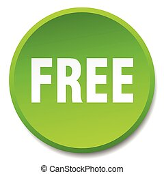 free green round flat isolated push button