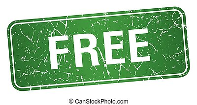 free green square grunge textured isolated stamp