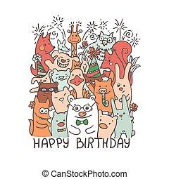 Free hand drawing of group of joyful animal friends