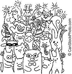 Free hand drawing of joyful animal friends