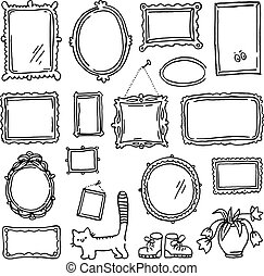 Free hand drawing of picture frames. Doodle style objects...