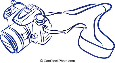 Free Hand Sketch of DSLR camera Vector - vector illustration...