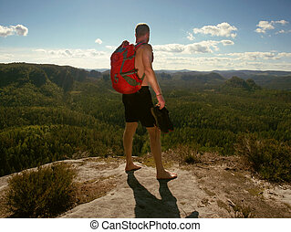 Free hike in mountains. Lifestyle adventure concept active summer