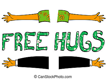free hugs - Hand drawn illustration of open hands with Free ...