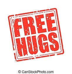 Free hugs red stamp text