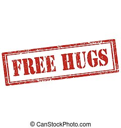 Free Hugs-stamp - Grunge rubber stamp with text Free...