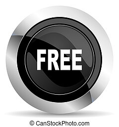 free icon, black chrome button