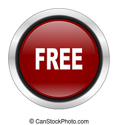 free icon, red round button isolated on white background, web design illustration