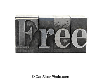 free in old metal letters