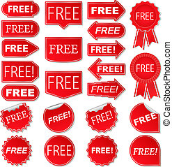Free labels, collection of red stickers