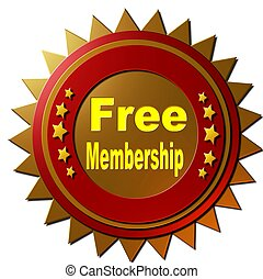 "A red and golden seal with and 5 golden stars declares ""free membership"" in yellow on an golden sheen background."
