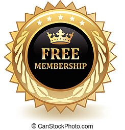 Free Membership - Free membership gold badge.