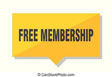 free membership price tag - free membership yellow square...