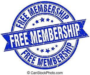 free membership round grunge ribbon stamp