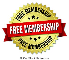 free membership round isolated gold badge