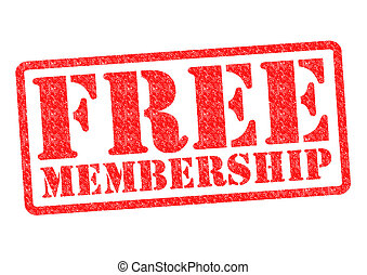 FREE MEMBERSHIP Rubber Stamp over a white background.