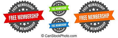 free membership sign. round ribbon label set. Seal - free ...