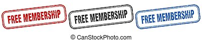 free membership square isolated sign set. free membership ...