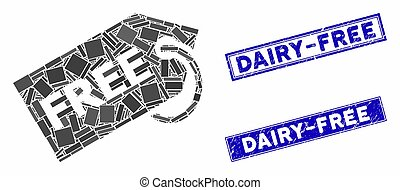 Free Mosaic and Scratched Rectangle Dairy-Free Stamps