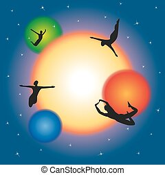 Free movement and levitating in space.